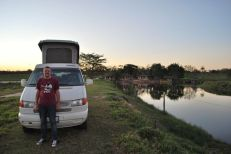 We ended up camping at someone's house - with private lake - near San Ignacio.