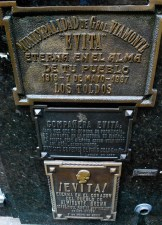 Argentine heroine 'Evita' (Eva Peron) is buried in the Duarte family vault, La Recoleta cemetery, Buenos Aires.