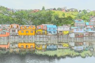 Palafitos (stilt houses), Castro, Chiloé - playing around with the special effects on my camera.