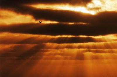 sunbeams through clouds