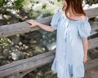 Ľanové riasené šaty s gumičkou