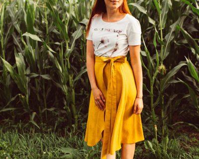 Ľanová zavinovacia sukňa-LAURA