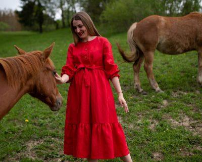 Ľanové šaty s volánom-CARMEN