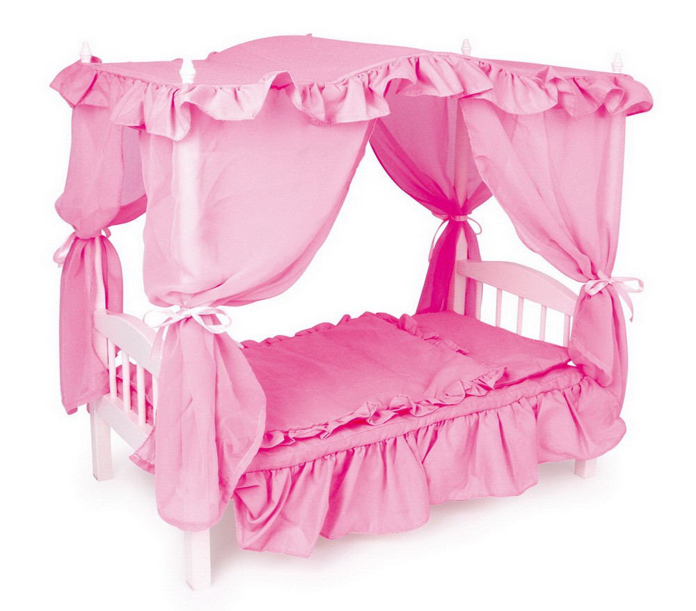 Puppet bed na may Baldakhin.