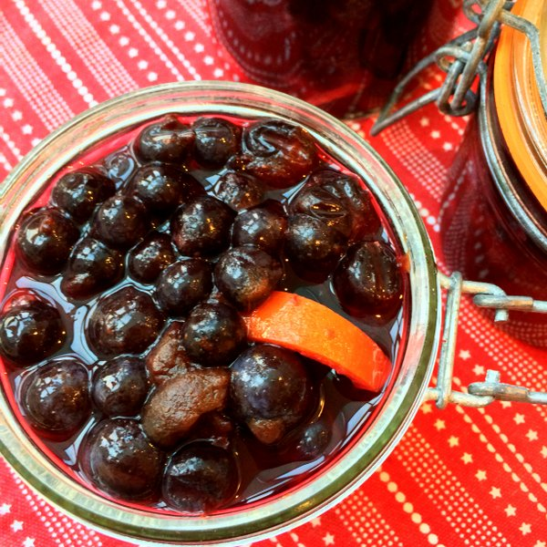 Sloes with gin added and some orange peel for flavour