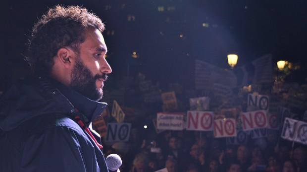 Spiriman, álter ego del médico Jesús Candel, en la manifestación de Jaén - L. R.