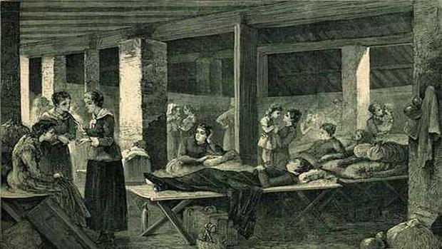 Mujeres atendiendo a enfermos de cólera