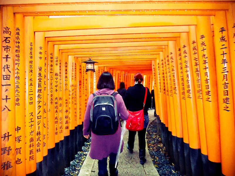 Caminhos de torii do santuário fushimi inari