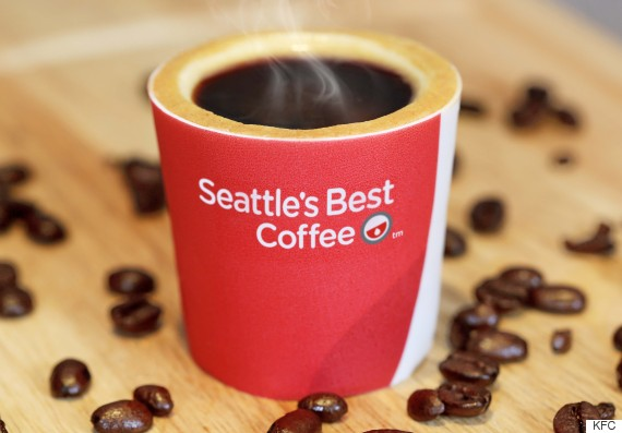 A hot shot of espresso is served in the 'Scoff-ee Cup' - the UK's first ever edible coffee cup developed by KFC to mark the launch of Seattle's Best Coffee in its restaurants. The cups are made from biscuit, wrapped in edible sugar paper and lined with a layer of heat resistant white chocolate, to keep the coffee hot and cup crispy