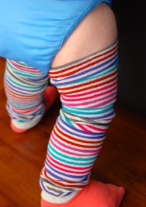 Baby leg warmers in action