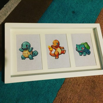 The finished and framed Kanto Pokemon Three Panel piece. This was my first commission. The buyer wanted a very specific frame to match the ones he already had.