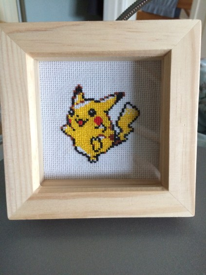 Made as a stock item, this budget Pikachu is nestled in a 7.5x7.5cm deep box frame but is a very effective and eye catching piece on the wall.