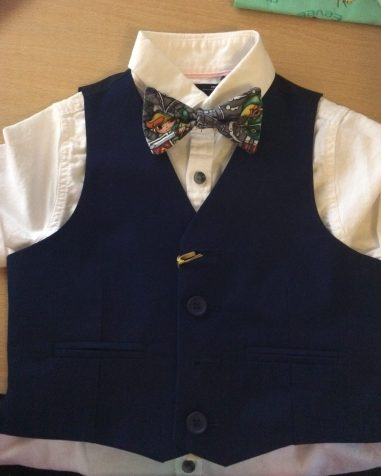 Bow tie to compliment a wedding outfit. This was a very popular sight at the wedding of family friends who are also avid gamers.