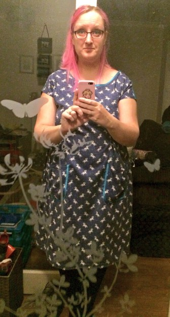 Just me in a dress I made myself! Not the best photo but I was thrilled at the success of the piece.