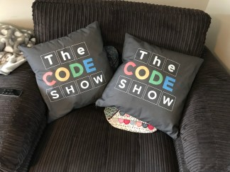 Promotional Cushions for The Code Show. They have a travelling museum of computing and visit schools nationwide.