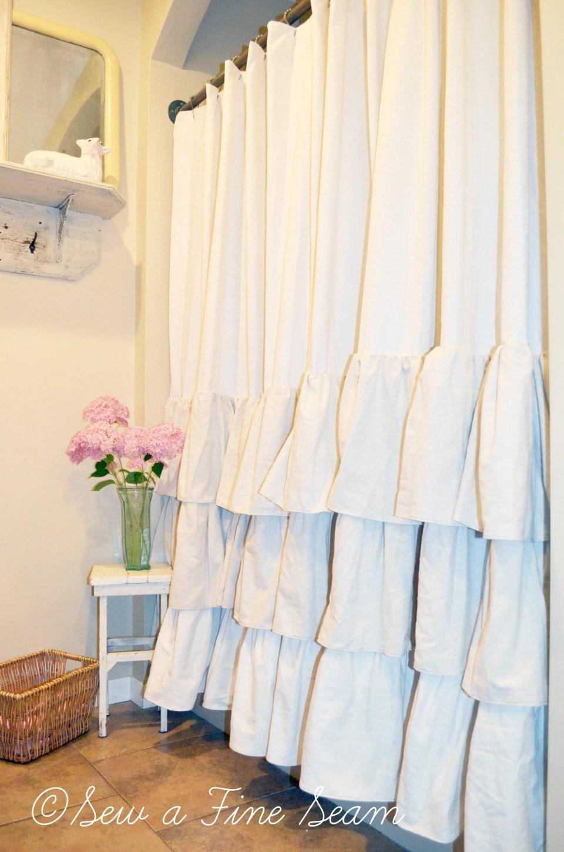 Diy ruffled shower curtain - Diy Ruffle Shower Curtain Tutorial Savae Org