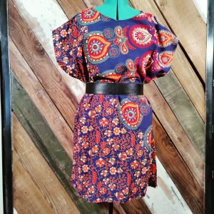 Handmade shift dress blue and multi color paisley with belt