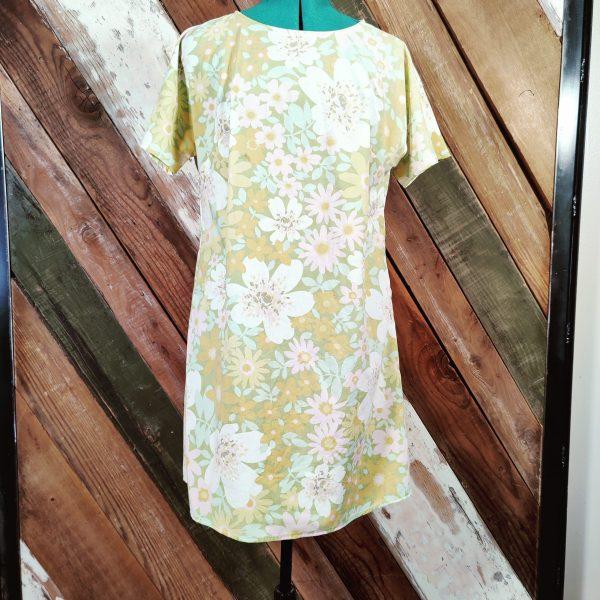 Vintage floral shift dress front belt