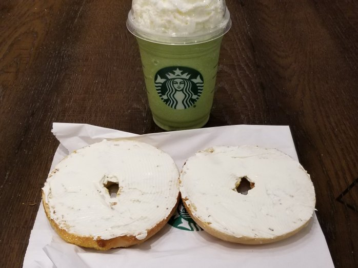 Starbucks Green Tea Frappaccino and plain bagel with Creme Cheese