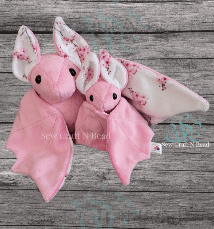 Large and Regular Size Pink Japanese Cherry Blossom Bat Plushies