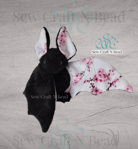 Black Japanese Cherry Blossom Bat Plush