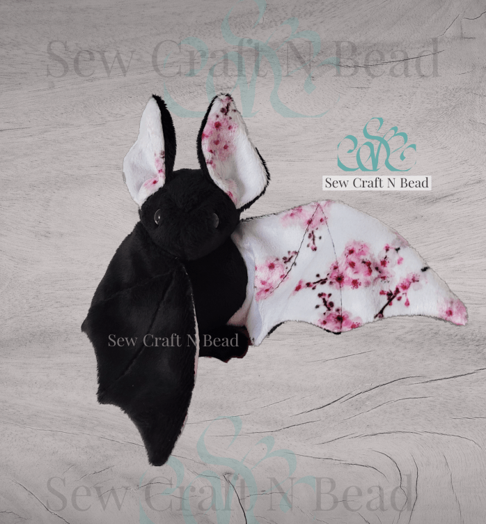 Black Japanese Cherry Blossom Bat Plush