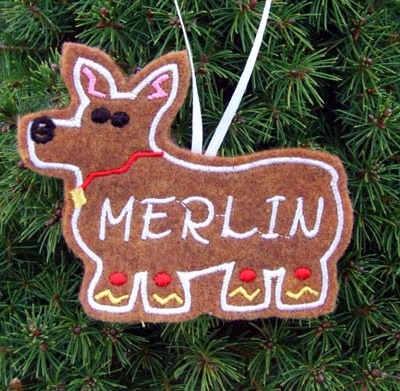 Personalized Gingerbread Corgi Christmas Ornament