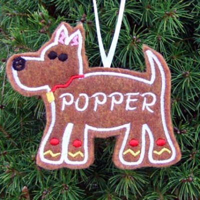 Adorable Gingerbread Dog Ornament