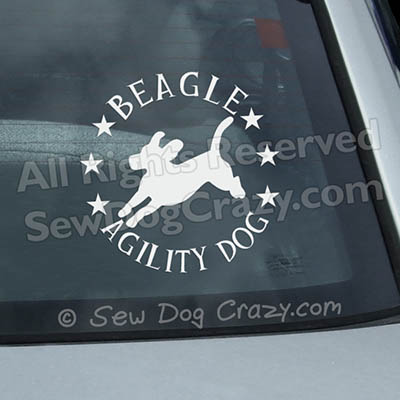 Beagle Agility Car Window Sticker