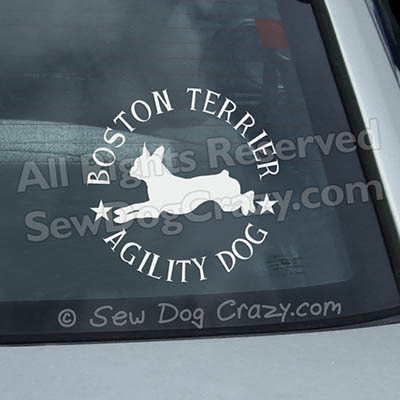 Boston Terrier Agility Car Window Stickers