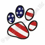 Patriotic Paw Print Embroidery