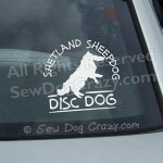 Sheltie Disc Dog Window Sticker
