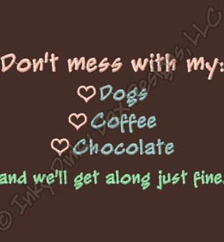 Funny Dog Loving Chocolate Eating Coffee Drinker T-Shirt