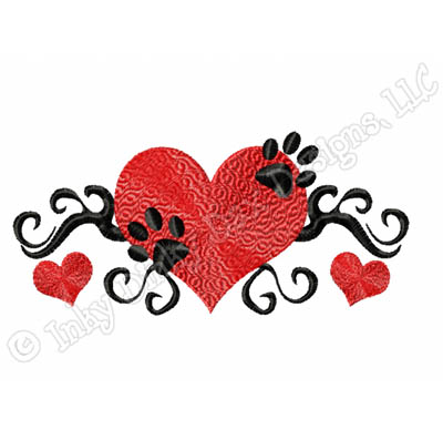 Embroidered Paw Prints On Heart Embroidery
