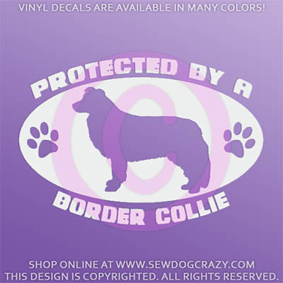 Protected by a Border Collie Car Decal