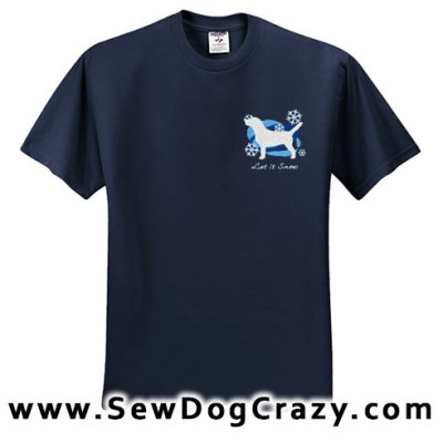 Embroidered Beagle Snowflakes Tshirt