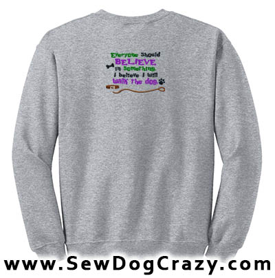 Embroidered Walk the Dog Sweatshirt