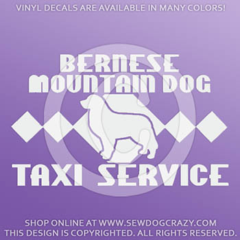 Vinyl Bernese Mountain Dog Taxi Stickers
