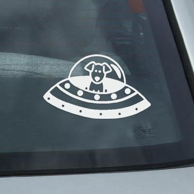 UFO Dog Vinyl Stick Figure Sticker