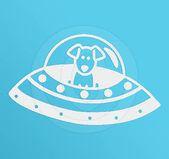 Flying Saucer Dog Decal