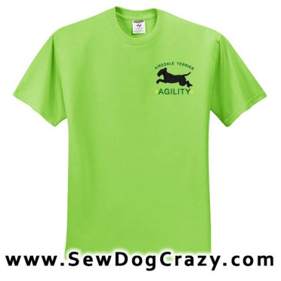 Embroidered Airedale Terrier Agility Tshirts