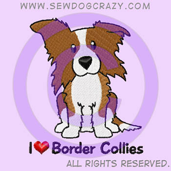 Embroidered Red Border Collie Shirts