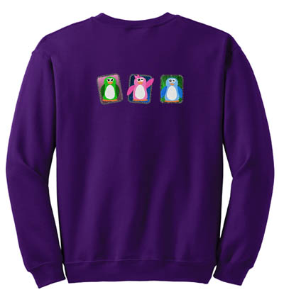Colorful Penguin Embroidered Sweatshirt
