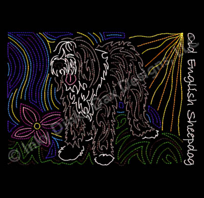 Old English Sheepdog Embroidery Art