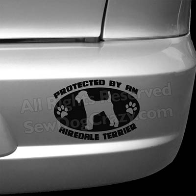 Protected by an Airedale Car Sticker