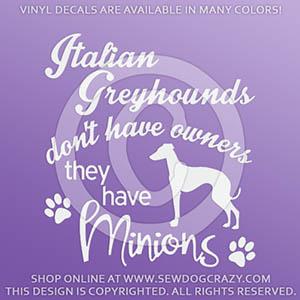 Funny Italian Greyhound Vinyl Decals