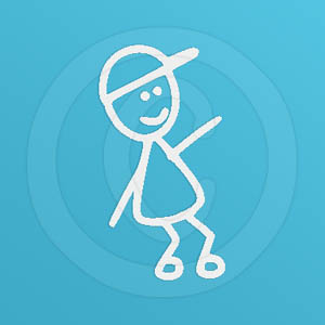 Boy Disc Dog Stick Figure Decal