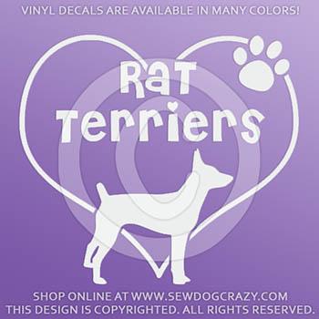 Love Rat Terriers Vinyl Sticker