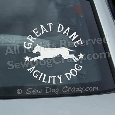 Great Dane Agility Car Window Stickers