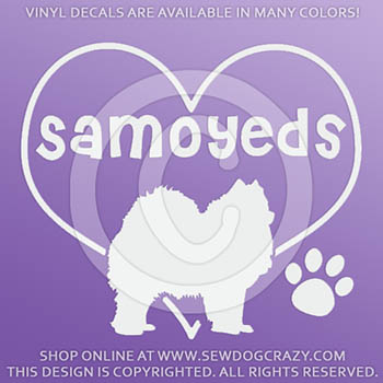 Love Samoyeds Vinyl Stickers